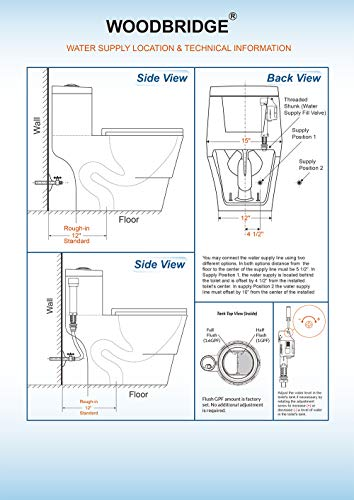 WOODBRIDGE T-0001, Dual Flush Elongated One Piece Toilet with Soft Closing Seat, Comfort Height, Water Sense, High-Efficiency, Rectangle Button B-0940 Pure White 7 <p>✅ : Ship from warehouse directly ; Fast shipment Thant regular order ✅ : Luxurious Modern Design one piece toilet , Clean, sleek look and compliment with different styles like modern , craftsman , traditional and etc. ✅: The skirted trap way creates a sleek look and makes cleaning easier. Compare to other toilets, it has no corners and grooves, very easy to reach for cleaning . ✅: Siphon Flushing one piece toilet, Fully glazed flush system , bringing a super quiet and powerful flushing - NO clogs, NO leaks, and NO problem ✅: Comfort Height Design, Chair-height seating that makes sitting down and standing up easier for most adults ✅ High end Soft Closing Toilet Seat with Stainless Steel Durable Seat Hinge, Easy to get the toilet seat off to tighten or clean after years of use. ✅ : Package Includes toilet, pre-installed soft closing toilet seat, pre-installed water fitting , high quality wax ring , floor bolts , and installation instruction, also Include special hand wrench tool to easily tighten the bolts in narrow spaces. ✅ : US & Canada UPC & CSA certified products. High-efficiency, Water Sense Certified toilet - meet or exceed ANSI Z124. 1 & ANSI A112-19. 7 ✅ : 5 year limited on porcelain parts against fading/staining of the glaze; 1 Year on flushing mechanism & soft closing toilet seat , Woodbridge US based product support team is happy to assist with any sales or product-oriented queries.</p>