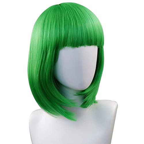 Green Wigs for Women Colorful Short Bob Wig with Bang Synthetic Straight Hair Wigs Costume Cosplay Party Fun Wig Natural as Real + Free Wig Cap, 13 Inch
