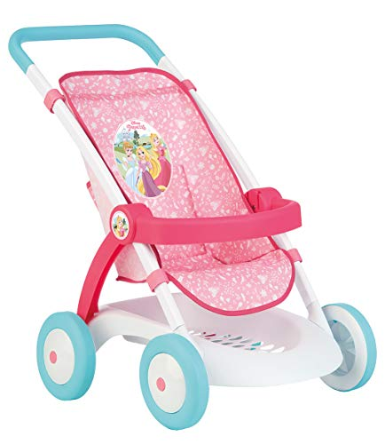 Smoby Disney Princess 254002 - Passeggino per Bambole e Bambole con Archetto di Sostegno + Cestino portaoggetti