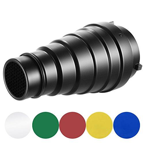Neewer 円錐形スヌートキット 大型 アルミ合金製 ハニカムグリッドと5色ジェルフィルター付き Bowensマウントのスタジオストロボモノライト、写真撮影フラッシュライトに対応
