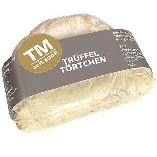 Die Trüffelmanufaktur - Feinkost Trüffelkäse mit 5{c457aaa4556ea3488f94d4ef0625b2bbe81f473a69f0cefc35d7635ee883c6c7} echtem schwarzem Trüffel, sahniges frisches Trüffel-Käse-Törtchen mit feiner Mascarpone Frischkäse-Trüffelfüllung, Gourmet Weichkäse 110 g