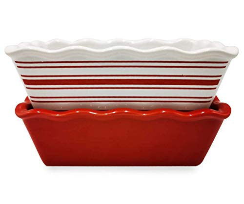Holiday Ceramic Mini Loaf Pans - 2 Pack - Red Solid/Striped