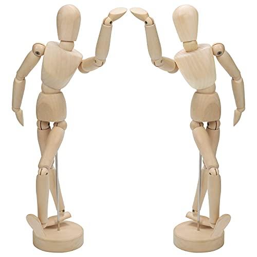 Kurtzy 30,5cm Kleine Puppe Holz Figur Gliederpuppe Männlich & Weiblich Menschlicher Körper - Modell mit Ständer (2er Pack) Flexible Manikin Puppe Klein mit Gelenken - Kunstfigur zum Malen und Zeichnen