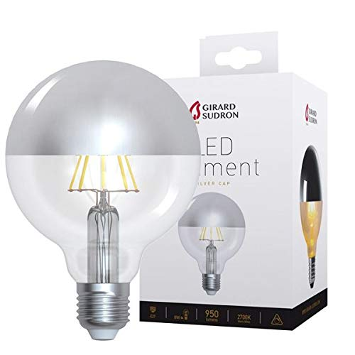 Girard Sudron 15649-LED Globe G95 - Bombilla de filamento LED (95 mm, casquillo E27, rosca ES, luz blanca cálida, 950 lúmenes, regulable, 8 W, tapa plateada)