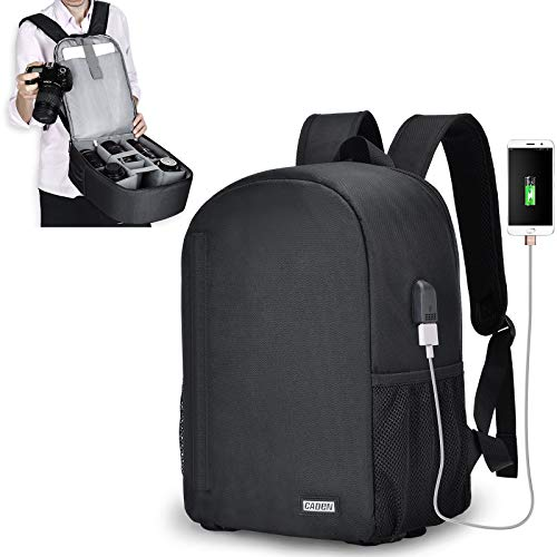 CADeN Camera Backpack Bag for DSLR/SLR Mirrorless Camera with USB Charging Port Professional Waterproof, Camera Case Compatible for Sony Canon Nikon Camera and Lens Accessories