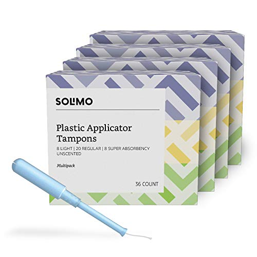 Amazon Brand - Solimo Plastic Applicator Tampons, Light Absorbency Multipack, Light/Regular/Super Absorbency, Unscented, 144 Count, 4 Pack