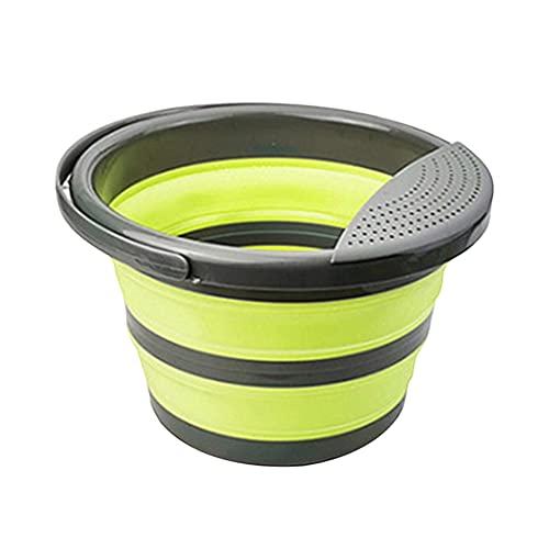 HUAQIGUO Cubo plegable, cubo plegable de 5/10 L, portátil, plegable, contenedor de agua para senderismo, camping, pesca, viajes, jardinería, uso al aire libre (5 L, verde)