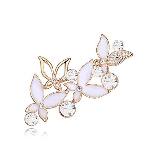 Crystals from Swarovski Schwarze Blumen Pin Brosche 18 kt Vergoldet für Damen