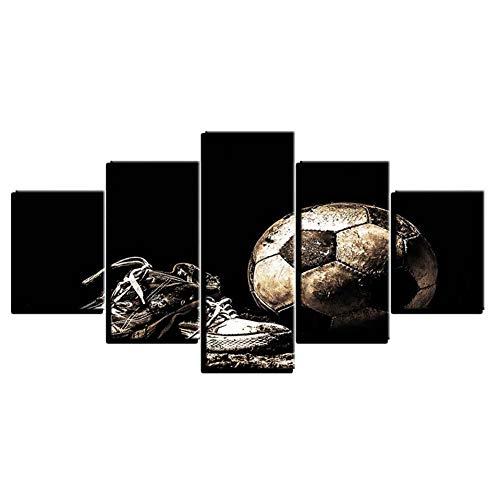 ZYBKOG Leinwandbild 5 Moderne Für Wohnzimmer Hause Modulare Leinwand Gemälde 5 Stücke Fußball Bilder Hd Gedruckt Dekoration Rahmen Poster Wandkunst