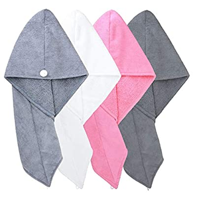 Polyte Microfiber Hair Turban Wrap Drying Towel, 4 pack