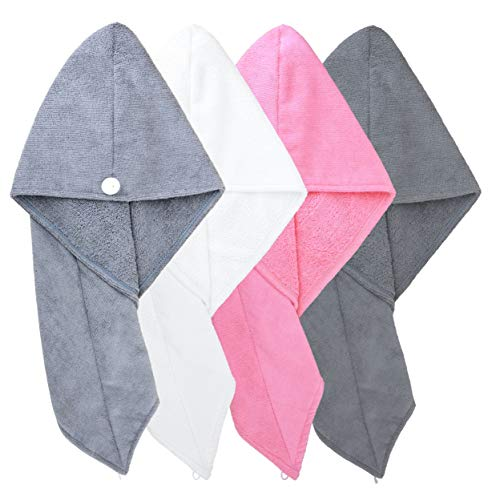 Polyte Microfiber Hair Turban Wrap Drying Towel, 4 Pack (12x28 in, Dark Gray, Gray, Pink, White)