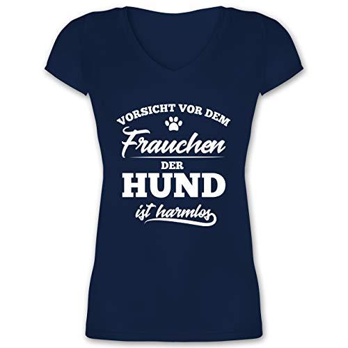 Hunde - Vorsicht vor dem Frauchen der Hund ist harmlos - XL - Dunkelblau - Shirt Frauchen harmlos - XO1525 - Damen T-Shirt mit V-Ausschnitt