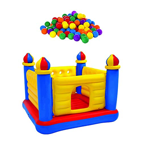 100-Pack Plastic Ballz Bundled w/ Inflatable Colorful Jump-O-Lene Bouncer