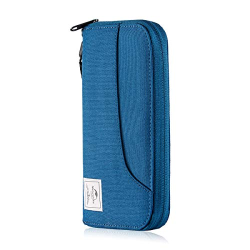 Naturehike公式ショップ パスポートケース 首下げ 海外旅行 出張 ビジネス 大容量 13ポケット 撥水加工 全3色 (ブルー(スキミング防止))