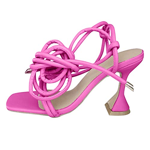 Luckycat Chanclas Sandalias Mujer Verano 2021 Vestir Sandalias Sandalias de Tacón Alto con Tiras de Estilete Y Puntera Cuadrada Sandalias con Tiras Cruzadas 5cm