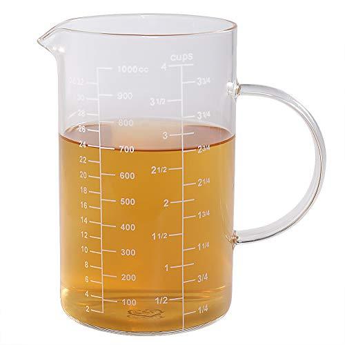 77L Vaso medidor, Taza de medición de cristal [manija aislada, canalón en forma de V], taza de medición del alto vidrio de borosilicate de para la cocina o el restaurante, 1000 ml (1,0 L, 4 Cup)