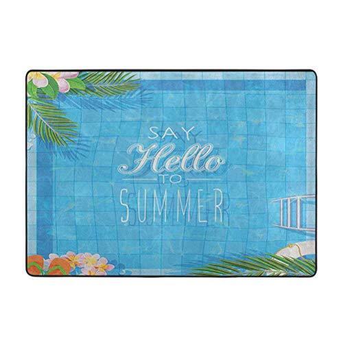 Quote Barefoot Area Alfombras, Say Hello to The Summer Slogan en una piscina con chanclas de escalera y diseño de flores, 4 x 6 pies antideslizantes para sala de estar, dormitorio o comedor