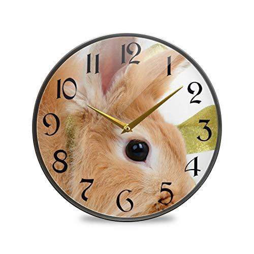 ART VVIES Reloj de Pared Redondo de 12 Pulgadas sin tictac silencioso operado por batería Oficina Cocina Dormitorio Decoraciones para el hogar-Conejo