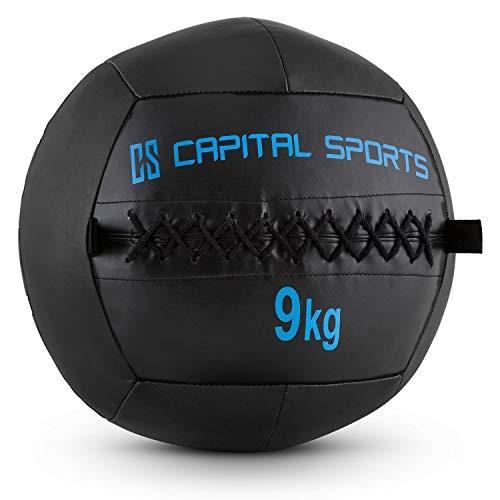 Capital Sports Wallba 9 Balón medicinal de cuero sintético (peso 9 kg, forro exterior, costuras resistententes, superficie manejable, esfera ejercicios gimnasia, pelota agarre adecuado para en