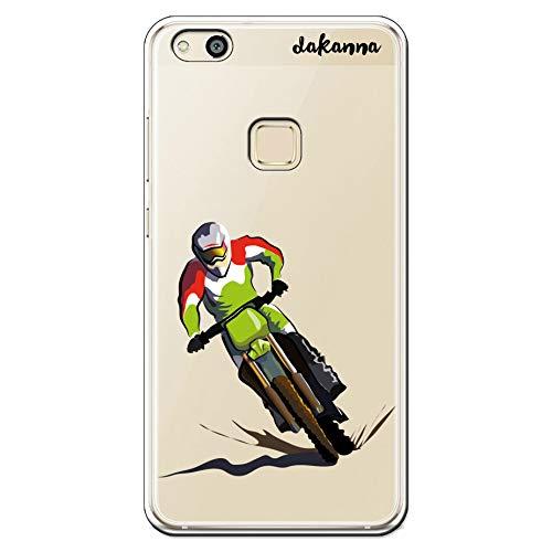 dakanna Funda para Huawei P10 Lite | Motocross | Carcasa de Gel Silicona Flexible | Fondo Transparente
