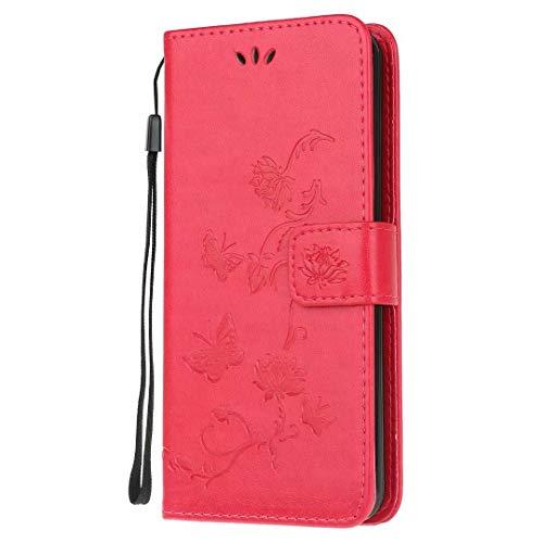 Funda para Samsung Galaxy Xcover 5, a prueba de golpes, piel sintética, diseño de mariposa de loto en relieve con soporte para tarjeta, portátil, protector de TPU con tapa para Samsung Galaxy Xcover 5