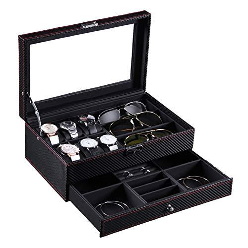 WZJ-Caja de Regalo Caja de Reloj de 6 dígitos de Fibra de Carbono privada Caja de Reloj de 6 dígitos + Gafas de 3 dígitos Mostrar Caja de Almacenamiento de Joyas de Doble Capa