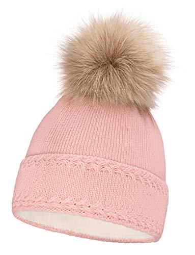 Neverless® gefütterte Damen Strickmütze mit Fell-Bommel und Fleece Futter, Winter-Mütze, Bommelmütze rosa