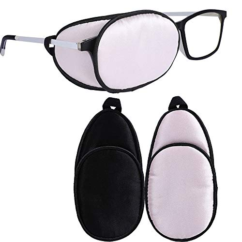 eZAKKA Eye Patches for Adults Kids Eye Patch for Glasses Silk Patch for Lazy Eye Amblyopia Strabismus and After Surgery (Light Pink + Black)