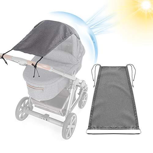 O-Kinee Universal Sonnensegel für Kinderwagen Sonnenschutz mit UV Schutz UPF 50+ Flexibles Verstellbarer Sonnenverdeck für Babywanne, Markisen - Rollofunktion, Grau