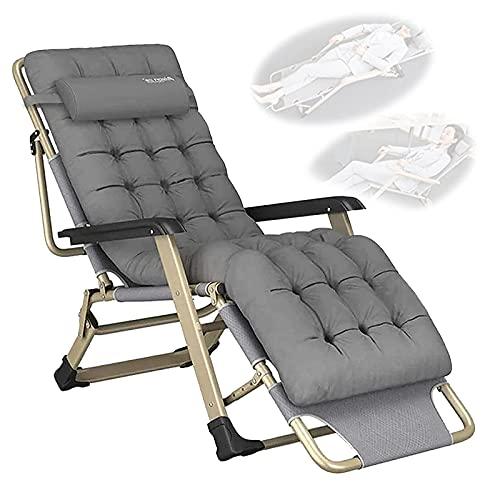 YRRA Liegestuhl ohne Schwerelosigkeit, Liegestuhl Lazy Reclining Relaxer Bequemem Wattepad Für Patio-Garten-Strand-Pool, mit Kissen-Unterstützung 300kg