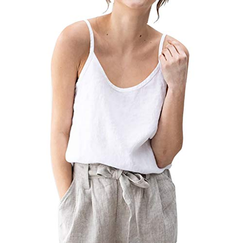 Damen Casual ärmellose Feste Leinen Sling Weste Bluse Casual Shirt Tops Home Natural Girl Style