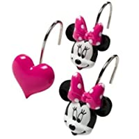 Disney Minnie Mouse and Hearts Bath Shower Curtain Hooks Set 12 Pink w/Dots