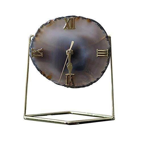 WYZQ Reloj de sobremesa Material de Piedra de ágata Dial de números Romanos Relojes de Chimenea para Sala de Estar, Cocina (Piedra de ágata, A), Relojes de Pared