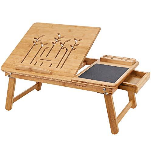 SONGMICS Tavolino per Laptop Pieghevole Inclinabile bambù Naturale con Tappetino per Mouse Cassetto 55 x 35 x 23 cm LLD006