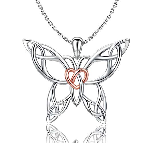 Sterling Silver Butterfly Necklace - Celtic Jewelry Gifts for Women Butterfly Lovers (rosegold heart necklace)