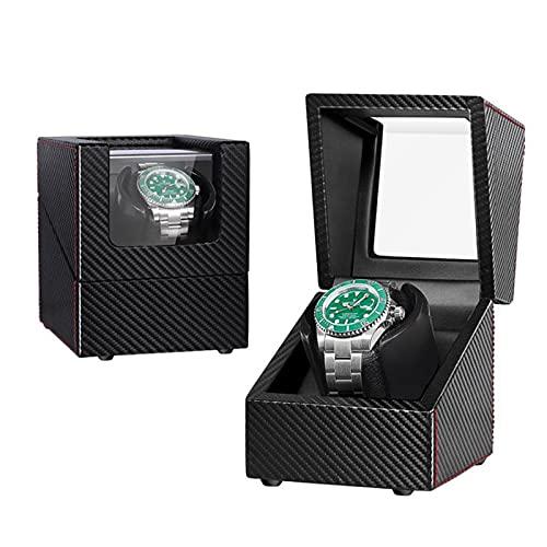 Caja Giratoria para Relojes Rotado Automático Rotate Winders, Caja De Winder De Un Solo Reloj, Motor Silencioso Motor De Placa De Alimentación De Doble Uso Caja De A(Color:Fibra de carbono + PU negro)
