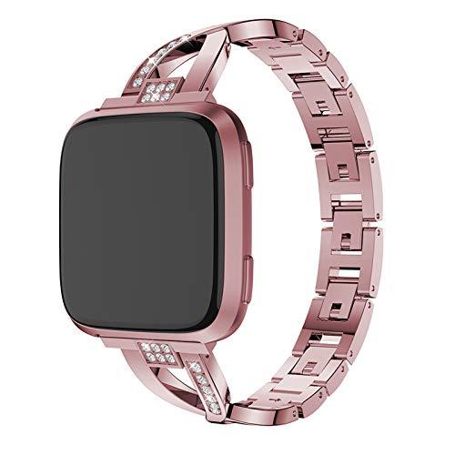XIALEY Correa De Metal Compatible con Fitbit Versa 2 / Versa/Versa Lite, Mujer Bling Rhinestone Pulseras De Repuesto De Acero Inoxidable Banda Reloj Pulsera Compatible con Versa,Rose Pink