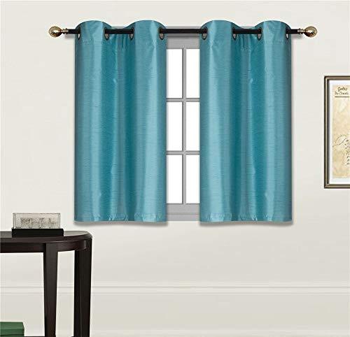 """Elegant Home 2 Panels Tiers Grommets Small Window Treatment Curtain Faux Silk Insulated Blackout Drape Short Panel 28"""" W X 36"""" L Each for Kitchen Bathroom or Any Small Window # D24 (Teal Blue)"""