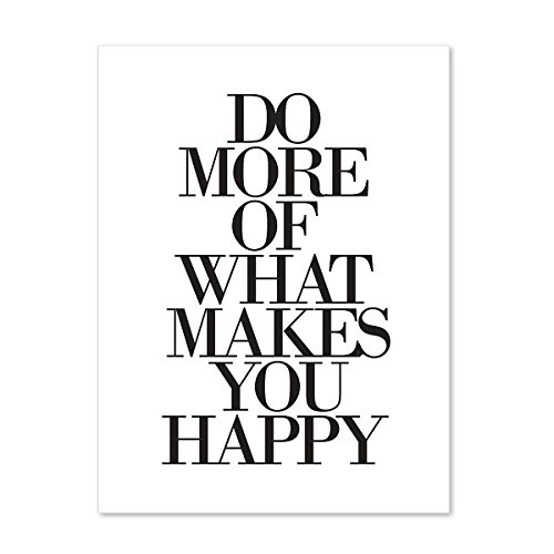 PHOTOLINI Design-Poster 'Do More of What Makes You Happy' 30x40 cm schwarz-Weiss Typographie Spruch