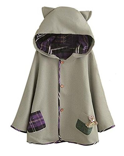 hqclothingbox Women's Cute Button Down Tweed Cat Ears Hooded Cape