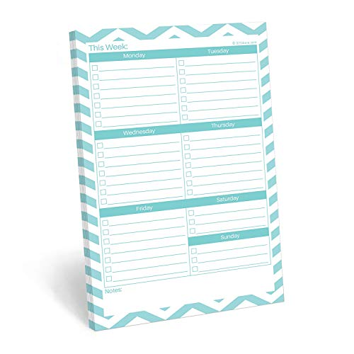 """321Done Weekly Checklist Notepad - 50 Sheets (5.5"""" x 8.5"""") - This Week to Do Notepad Tear Off Planning Pad, Planner Checklist Organizing - Made in USA - Chevron Teal"""