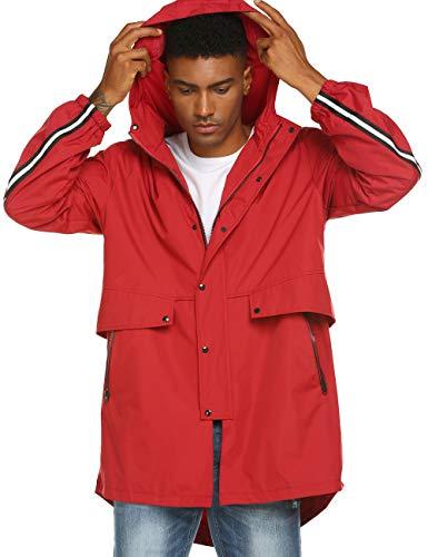 Mens Big and Tall Windbreaker Jackets Lightweight Rain Coat Hood Red Coat Red S