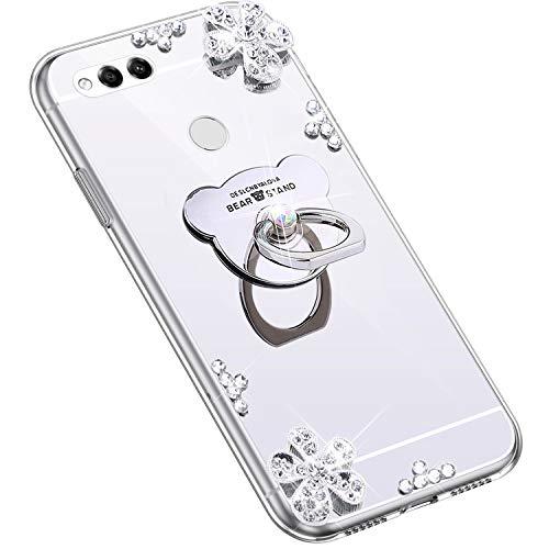 Uposao Kompatibel mit Huawei Honor 7X Hülle Glitzer Diamant Glänzend Strass Spiegel Mirror Handyhülle mit Handy Ring Ständer Schutzhülle Transparent TPU Silikon Hülle Tasche,Silber