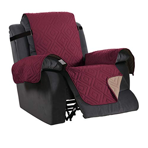 H.Versailtex Waterproof Recliner Chair Covers for Armchairs Recliner Covers Reclining Chair Covers Protect from Pets/Dogs, Soft Quilted and Non Slip Strap (Reversible Burgundy/Tan)