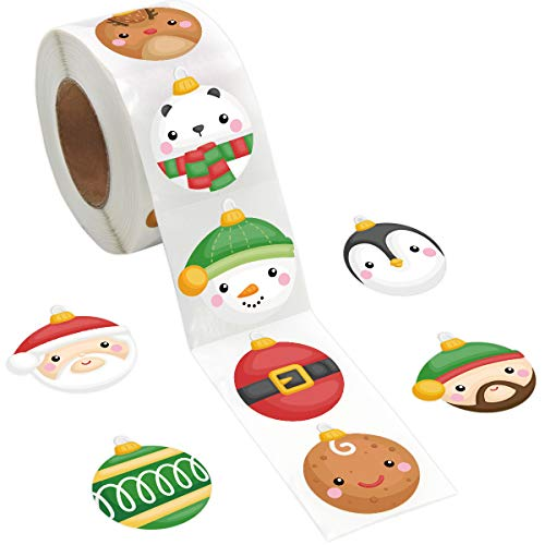 Ornament Stickers Christmas Roll Sticker for Kids Christmas Cards Envelopes Seal Gift Tags 500Pcs