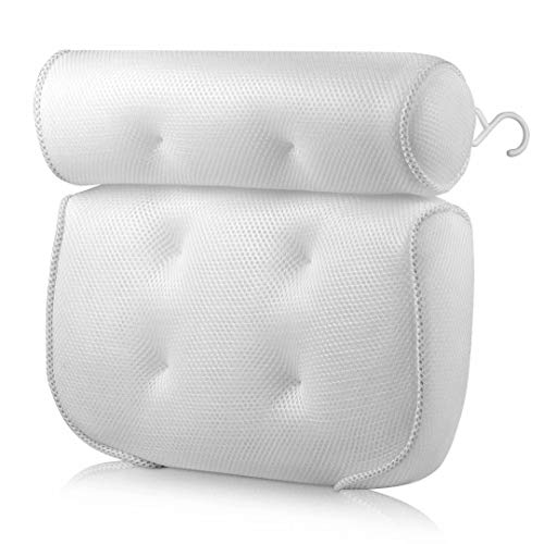 Bath Pillow Bathtub Spa Pillows With 6 Suction Cups & Drying Hook Bath Cushion For Ergonomic Headrest & Neck and Back Support, Breathable 3D Mesh Hot Tub Pillow