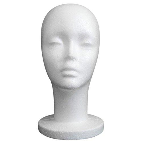 Transer® Weißer, weilblicher Mannequinkopf, Modell aus Styropor, für Perücken oder Brillen, für Präsentationsständer