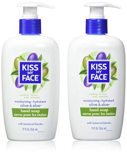 Kiss My Face Moisture Liquid Hand Soap, Olive Oil & Aloe Vera 9 oz Pumps (Pack of 6)