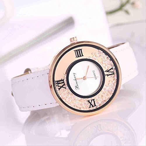 WMYATING Exquisito, Hermoso, decente, novedoso y único. Relojes de Pulsera Mujer Relojes para Caminar con Cuentas de Arena Reloj Reloj de Mujer Pareja Reloj de Cuarzo (Color : White)