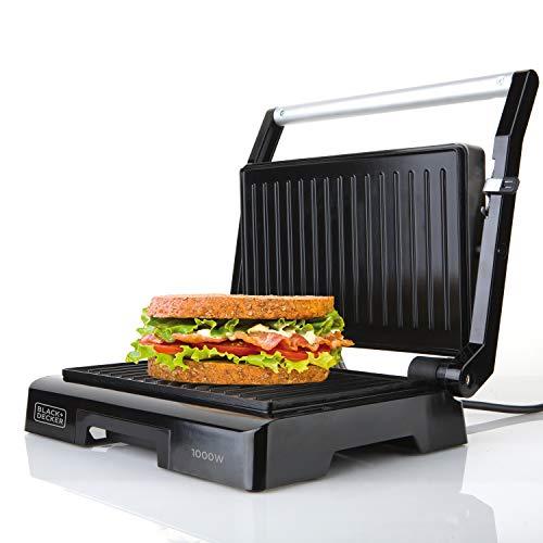 Black+Decker BXGR1000E Sandwichera, 1000 W, Plástico, Negro